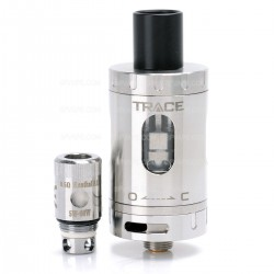 Authentic Artery Trace Tank Clearomizer - Silver, Stainless Steel + Glass, 2mL, 0.5 ohm, 22mm Diameter