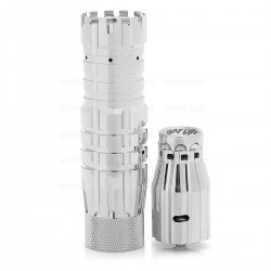 The Predator Style Mechanical Mod + Battle Style RDA Atomizer Kit - Silver, Brass + Stainless Steel, 1 x 18650