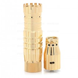 The Predator Style Mechanical Mod + Battle Style RDA Atomizer Kit - Golden, Brass + Stainless Steel, 1 x 18650