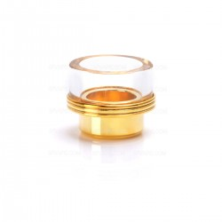 "Wide Bore Drip Tip for 1/2"" Goon / Kennedy / Battle RDA - Golden, 316 Stainless Steel + Glass, 13.5mm"