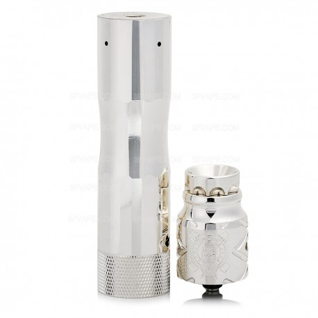 The AV Circus Style Mechanical Mod + Battle Style RDA Atomizer Kit - Silver, Brass + Stainless Steel, 1 x 18650