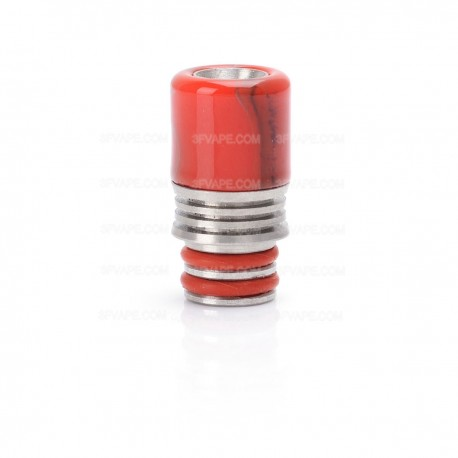 Universal 510 Drip Tip for Atomizer - Red, Resin + Stainless Steel, 21mm