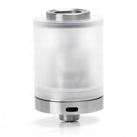 SJMY Doggystyle 2K16 Doggy Style RTA Rebuildable Tank Atomizer - Silver, 316 Stainless Steel + PC, 3.5mL, 22mm Diameter