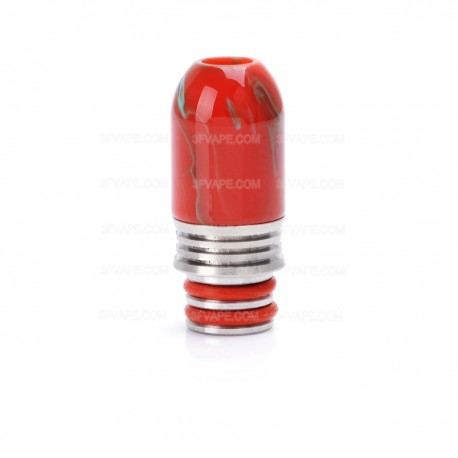 Universal 510 Drip Tip for Atomizer - Red, Resin + Stainless Steel, 26mm
