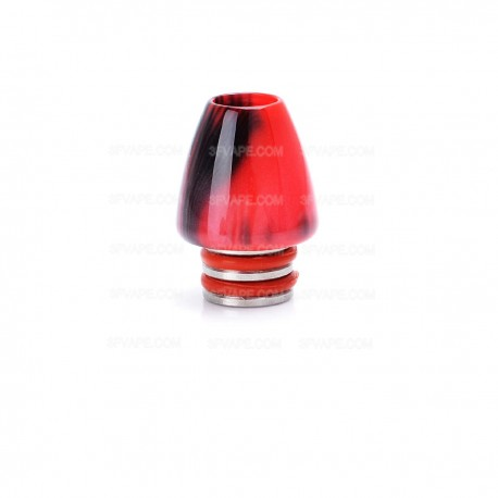 Universal 510 Drip Tip for E-cigarettes Atomizer - Black + Red, Stainless Steel + Resin, 19mm