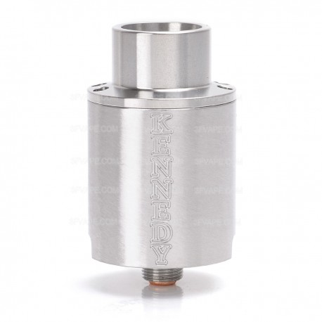 Kennedy Trickster 24X Style Screaming Demon Cap RDA Rebuildable Atomizer w/ Glass Tank - Silver, Stainless Steel, 24mm Diameter