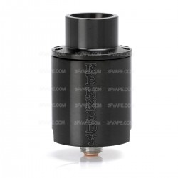 Kennedy Trickster 24X Style Screaming Demon Cap RDA Rebuildable Atomizer w/ Glass Tank - Black, Stainless Steel, 24mm Diameter