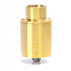 Kennedy Trickster 24X Style Screaming Demon Cap RDA Rebuildable Atomizer w/ Glass Tank - Golden, Stainless Steel, 24mm Diameter