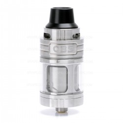 Authentic OBS Engine Mini RTA Rebuildable Tank Atomizer - Silver, Stainless Steel + Glass, 3.5mL, 23mm Diameter
