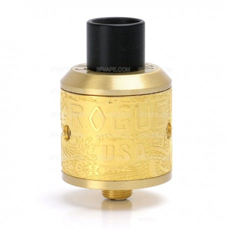 Rogue USA Style RDA Rebuildable Dripping Atomizer - Golden, Brass, 24mm Diameter