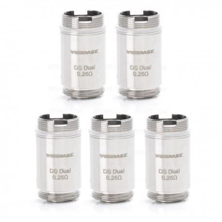 Authentic Wismec DS Dual Coil Heads for Motiv Kit / ORMA Tank - Silver, 0.25 Ohm (25~60W) (5 PCS)
