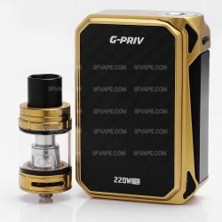 "Authentic SMOKTech SMOK G-Priv 220W 2.4"" Touch Screen TC VW Mod + TFV8 Big Baby Kit - Black + Golden, 1~220W, 2 x 18650, 5mL"