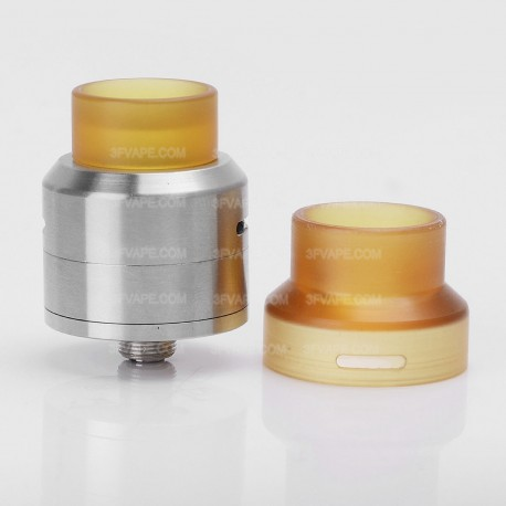 Goon LP Style RDA Rebuildable Dripping Atomizer w/ PEI Drip Cap - Silver, Stainless Steel, 24mm Diameter