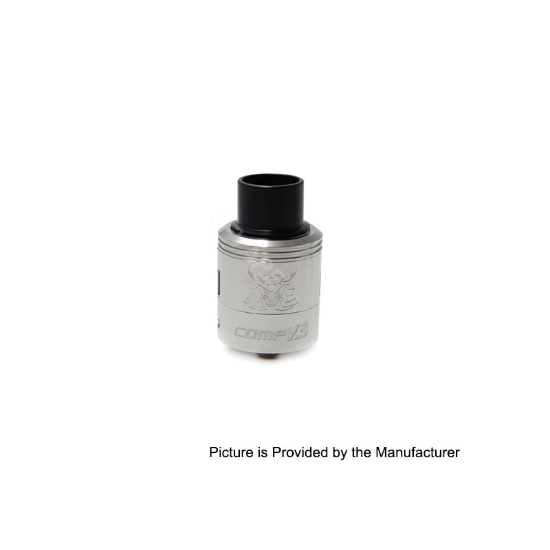Samurai V3 Style RDA Rebuildable Dripping Atomizer - Silver, Stainless Steel, 24mm Diameter