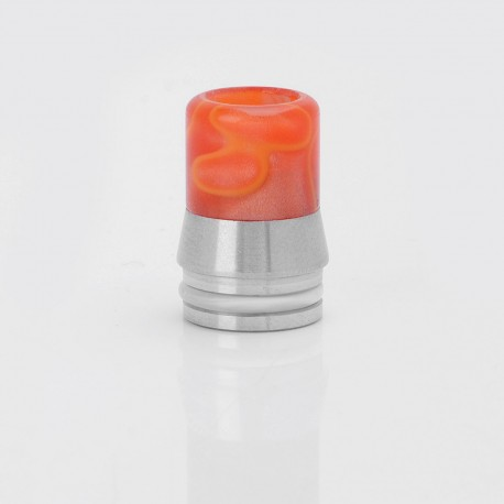 Stainless Steel + Acrylic Drip Tip for SMOK TFV8 Cloud Beast Atomizer / Wide Bore Goon RDA / Kennedy 24 - Silver + Red, 20mm