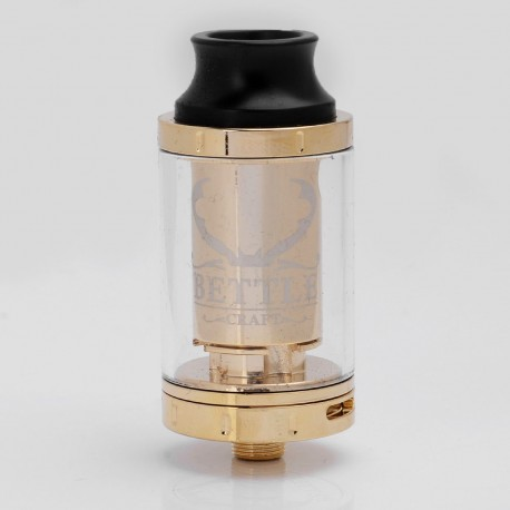 Bettle Craft Style RTA Rebuildable Tank Atomizer - Golden, Stainless Steel + Glass, 3ml, 24mm Diameter