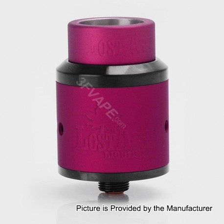Lost Art Goon Style RDA Rebuildable Dripping Atomizer w/ Wide Bore Drip Tip - Purple, Stainless Steel, 24mm Diameter