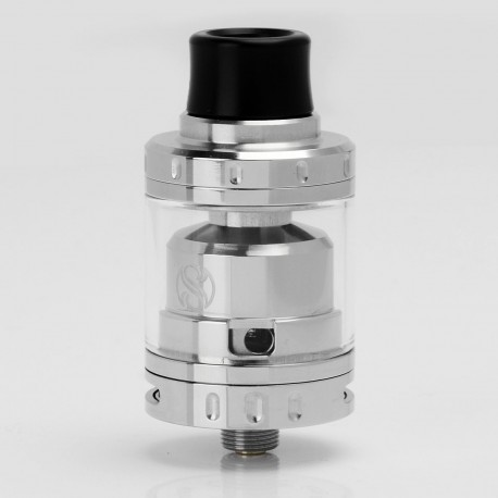 Authentic Augvape Merlin Mini RTA Rebuildable Tank Atomizer - Silver, Stainless Steel + Glass, 2mL, 24mm Diameter