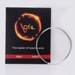 Authentic VCOIL FeCrAl Heating Wire for RBA / RTA / RDA Atomizer - 26 AWG / 0.4mm dia. / 5m (15ft)