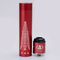 Rig V3 Style Mechanical Mod + Terk Style RDA Rebuildable Dripping Atomizer Kit - Red, Aluminum, 1 x 18650