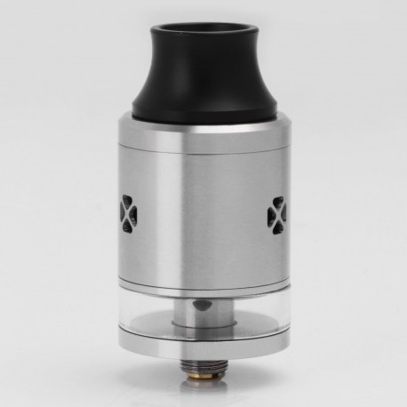 Triad Genesis Style RDTA Rebuildable Dripping Tank Atomizer - Silver, 316 Stainless Steel + Glass, 2.5ml, 24mm Diameter