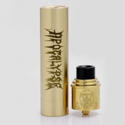 Apocalypse GEN 2 Style Mechanical Mod + RDA Rebuildable Dripping Atomizer Kit - Brass, Brass, 1 x 18650, 24mm Diameter