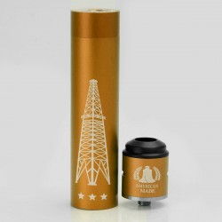 Rig V3 Style Mechanical Mod + Terk Style RDA Rebuildable Dripping Atomizer Kit - Golden, Aluminum, 1 x 18650
