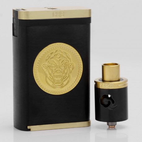 Fujin Style Mechanical Box Mod + Kaze V2 Style RDA Rebuildable Dripping Atomizer Kit - Black, POM + Brass, 2 x 18650