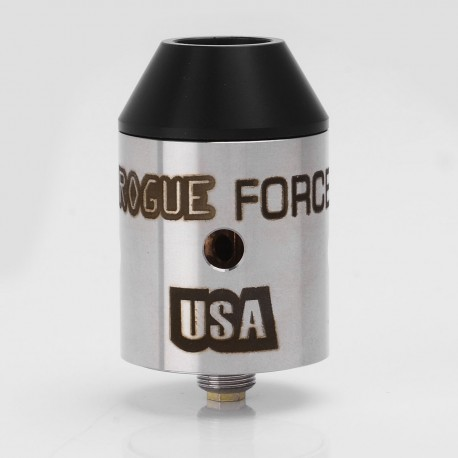 Rogue Force USA Style RDA Rebuildable Dripping Atomizer - Silver, Stainless Steel, 24mm Diameter