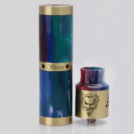 Shiva Style Mechanical Mod + Baal V4 Style RDA Rebuildable Dripping Atomizer Kit - Random Color, Brass + Resin, 24mm, 1 x 18650