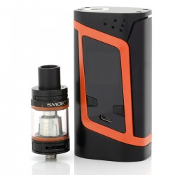 Authentic SMOKTech SMOK Alien TC VW Mod Starter Kit w/ TFV8 Baby Tank - Black + Orange, 6~220W, 3ml, 22mm Diameter, 2 x 18650