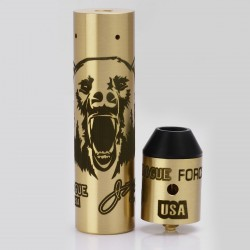 Storm Rogue USA Style Mechanical Mod + RDA Kit - Brass, Brass, 1 x 18650, Bear Pattern