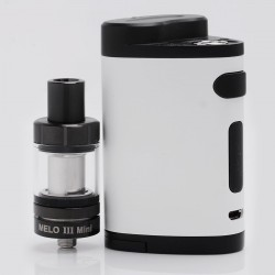 Authentic Eleaf Pico Dual 200W TC VW Box Mod with MELO III Mini Tank - White, 1~200W, 100~315'C / 200~600'F, 2ml, 2 x 18650