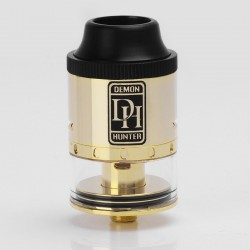 Authentic SMOKJOY Demon Hunter RDTA Rebuildable Dripping Tank Atomizer - Golden, Stainless Steel + Glass, 2.8ml, 25mm Diameter