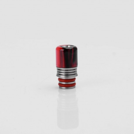 Universal 510 Drip Tip - Black + Red, Acrylic + Stainless Steel, 21.3mm