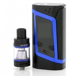 Authentic SMOKTech SMOK Alien TC VW Mod Starter Kit w/ TFV8 Baby Tank - Black + Blue, 6~220W, 3ml, 22mm Diameter, 2 x 18650