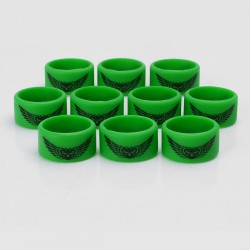 Authentic Vapethink Silicone Anti-slip Ring Vape Band - Green + Black, Angel's Wings Pattern, 22mm Diameter (10 PCS)