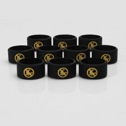 Authentic Vapethink Silicone Anti-slip Ring Vape Band - Black + Yellow, No Sexual Pattern, 22mm Diameter (10 PCS)