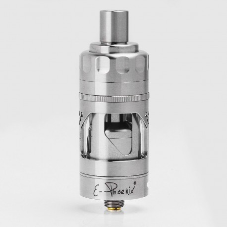 Hurricane V2 Style RTA Rebuildable Dripping Atomizer - Silver, Stainless Steel + Glass, 2ml, 22.5mm Diameter