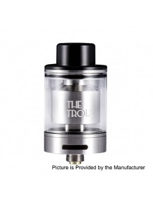Authentic Wotofo The Troll RTA Rebuildable Tank Atomizer - Silver, Stainless Steel + Pyrex Glass, 5ml, 24mm Diameter
