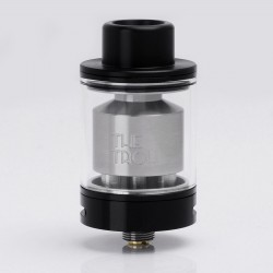 Authentic Wotofo The Troll RTA Rebuildable Tank Atomizer - Black, Stainless Steel + Pyrex Glass, 5ml, 24mm Diameter