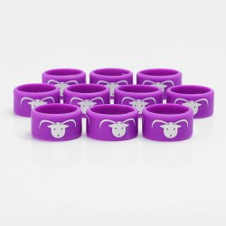 Authentic Vapethink Silicone Anti-slip Ring Vape Band - Purple + White, God of Wold Pattern, 22mm Diameter (10 PCS)