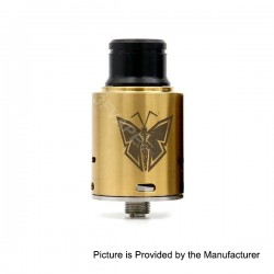 Monarch Style RDA Rebuildable Dripping Atomizer - Golden, Stainless Steel, 24mm Diameter