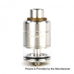 Authentic Wotofo Serpent RDTA Rebuildable Dripping Tank Atomizer - Silver, Stainless Steel + Glass, 4.0ml, 22mm Diameter