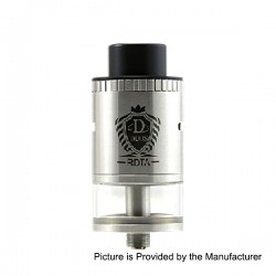 Authentic Horizon Duos RDTA Rebuildable Dripping Tank Atomizer - Silver, Stainless Steel + Glass, 5ml, 25mm Diameter
