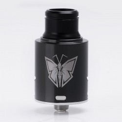 Monarch Style RDA Rebuildable Dripping Atomizer - Black, Stainless Steel, 24mm Diameter