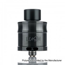Wotofo Lush Plus 24mm Split Two Post RDA Rebuildable Dripping Tank Atomizer - Black, Stainless Steel, 24mm Diameter