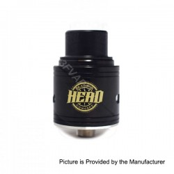 Head Style RDA Rebuildable Dripping Atomizer - Black, Stainless Steel, 24mm Diameter