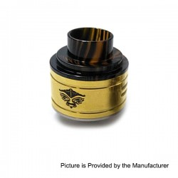 Kabuki Style RDA Rebuildable Dripping Atomizer - Golden, Stainless Steel, 24mm Diameter