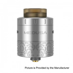 Authentic GeekVape Medusa RDTA Rebuildable Dripping Tank Atomizer - Silver, Stainless Steel, 3ml, 25mm Diameter